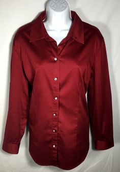 Women's CHICO'S Red Collared Button Down Dress Shirt Size 2 #Chicos #ButtonDownShirt #CareerCasual