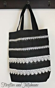 No-Sew Lace Applique Tote Bag Lace Bag, Martha Stewart Crafts, Bag Patterns c7b3cde290
