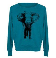 Womens ELEPHANT Tri-Blend Pullover Sweatshirt - American Apparel Sweater - S M L (8 Color Options). $28.00, via Etsy.