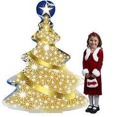 Our Glittering Gold Christmas Tree Standee features a Christmas tree printed with gold accents. Each standee is 5 feet tall x 3 feet 10 inches wide.