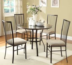 Carlson Coffee Metal Fabric 5Pc Pack Dining Set