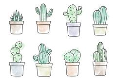 Free Watercolor Cactus Vector … – Art – Cactus - together. Doodle Drawings, Easy Drawings, Doodle Art, Cactus Doodle, Cactus Art, Cactus Plants, Silk Plants, Cactus Drawing, Watercolor Cactus