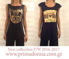Μπλουζάκια με χρυσή στάμπα.Δείτε όλη την συλλογή μας στο e-shop www.primadonna.com.gr