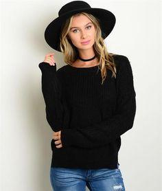 Comfy Black Sweater - Livin' Freely Boho Fashion Fall Sweater Bohemian Style Fall Outfit