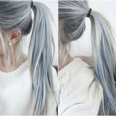 Grey isn't just for geriatrics anymore. Silver hair in a pony — Women Are Choosing To Dye Their Hair Grey For The 'Granny Hair' Trend (Photos) follow for more @Michelle Zacche See more: http://elitedaily.com/envision/going-grey-for-fashion-photos/979772/