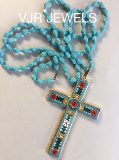 Italian murano glass mosaic cross with glass beads , beautiful mix and match unique VJR ( cross) JEWELS For sale