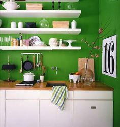 kelly green kitchen wall, not sure how it would look with black counters- and I'd want a different shade Kelly Green Kitchen, Green Kitchen Paint, Kitchen Colors, Bright Green Bathroom, Turquoise Kitchen, Eclectic Kitchen, Kitchen Decor, Kitchen Storage, Kitchen Ideas
