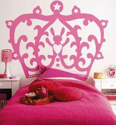 princess bed- cute idea for a headboard! I wouldnt do the princess for my master bedroom but i love the idea of just having something on the wall. Bedroom Themes, Girls Bedroom, Master Bedroom, Bedroom Ideas, Princess Room, Real Princess, Daughters Room, Little Girl Rooms, Room Decor