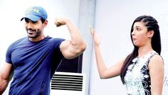 Shruti Haasan seems to be mighty impressed with 'Welcome Back' co-star John Abraham's biceps while promoting 'Welcome Back' in Gurgaon. #Bollywood #Fashion #Style #Beauty #Handsome #Muscles