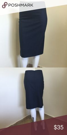 THEORY Blue Sexy Pencil Skirt Size 4 Label-Theory                                                  Style- Office ready Denim blue very lightweight summer wool flat front pencil skirt, zips up the back, seaming for flattering lines, at or below knee, side back kick pleats for walking. Closet Staple Must!  Size-4 shown on a 0 manni/ pinned  Measurements-W-26 Hip-30 Length-18 inches!  Color- Medium Denim Blue  Fabric-95% Wool, 5% Lycra Not denim! not lined but not itchy!  Condition-Excellent…