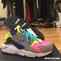 Nike Air ID Huarache Run sneakers size 8 8.5 9 Custom designed on NIKEiD.com. Inspired by the 90s and have a very Saved by the Bell vibe. I'm a 8.5/9, since Huaraches run a little small I ordered these in a 9. With a thin sock I feel a little pressure at the toe so I would say this is best for someone who is a 8/8.5. I paid $140 and never wore these (only tried on). A small price to pay for one of a kind sneakers! Nike Shoes Sneakers