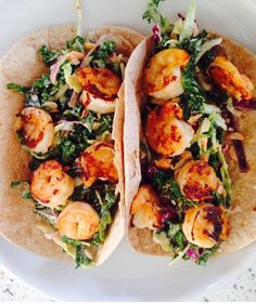 Shrimp Tacos w/ Kale, Broccoli, Cabbage & Brussel Sprouts Slaw. Homemade & YUM!