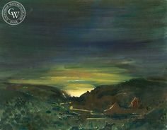 Sunset in the Valley, 1940, a California watercolor by Phil Dike