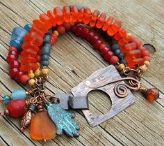 Orange Red Blue Recycled Glass Bracelet Copper by ChrysalisToo, $66.00