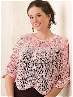 Perfect for over a tube dress ~ Lacey Waves Poncho FREE knitting pattern