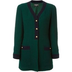 Chanel Vintage V-Neck Coat ($2,024) ❤ liked on Polyvore featuring outerwear, coats, green, chanel coat, long sleeve coat, wool blend coat, green coat and chanel