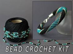 This Bead crochet DIY kit bracelet seed bead bracelet kit diy is just one of the custom, handmade pieces you'll find in our kits shops. Knitted Necklace, Crochet Beaded Bracelets, Rope Necklace, Seed Bead Bracelets, Seed Beads, Bead Crochet Patterns, Bead Crochet Rope, Diy Crochet, Diy Kits