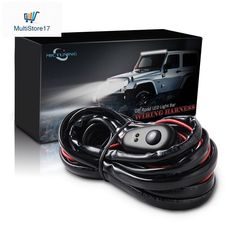 Mictuning 22 120w curved cree led light bar combo wlaser blue led light bar wiring harness off road power 40a relay fuse on off switch button aloadofball Choice Image