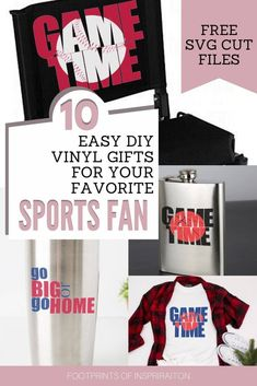 I have several sports fans on my list this year and this post is exactly what I needed! Now I can create easy DIY vinyl gifts that my friends and family will love. Diy Holiday Gifts, Easy Diy Gifts, Diy Crafts For Gifts, Christmas Diy, Diy Vinyl Projects, Cool Diy Projects, Gifts For Sports Fans, Vinyl Gifts, Print And Cut