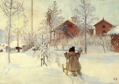 Carl Larsson - I love how he captured the winter sunlight through the trees
