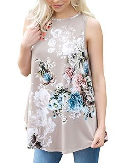 3e82f3f0534 Dokotoo Womens Summer Ladies Casual Sleeveless Floral Juniors Tank Blouses  Plus Size Grey Small Denim Outfit