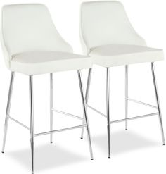 White Counter Stools, Counter Height Stools, Value City Furniture, White Velvet, Vanity Bench, Chrome, Dining Room, Ali, Compliments