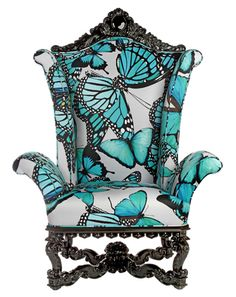 Phyllis Morris - Beverly Hills CA Custom Furniture Maker Luxury Beds Funky Furniture, Custom Furniture, Painted Furniture, Butterfly Room, Blue Butterfly, Butterfly Kisses, Butterfly Print, Butterflies, Funky Chairs