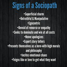 Well there you have it.  Sociopath