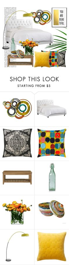 """bedroom"" by soy-sony-gg on Polyvore featuring interior, interiors, interior design, hogar, home decor, interior decorating, WALL, Skyline, DwellStudio y Marimekko"