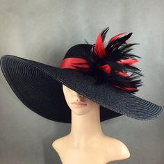 Black Kentucky Derby Hat with Red hand-trimmed feathers, Derby Hat, Church Hat, Dressy Hat ,Formal Hat, Wedding Hat,Special Occasion
