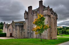 Crathes Castle Scotland.  Crathes sits on land given as a gift to the Burnett of Leys family by King Robert the Bruce in 1323.  This harled castle was built by the Burnetts of Leys and was held in that family for almost 400 years.