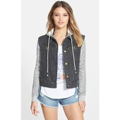 Junior Billabong 'Northern Sea' Denim Jacket with French Terry Sleeves (115 CAD) ❤ liked on Polyvore