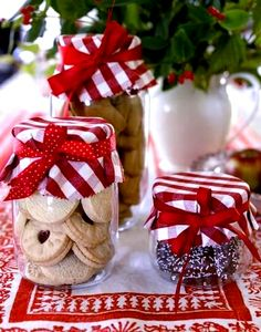 Mason Jar fun. A neat idea for packaging cookie/candy gifts! :-D realsimple.com