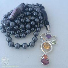 108 Grey Swarovski Pearls enhanced by a sterling & semi-precious stone Chakra Pendant