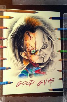 Chucky(Quick Sketch).... Scary Drawings, Halloween Drawings, Disney Drawings, Arte Horror, Horror Art, Chucky Drawing, Chucky Tattoo, Chucky Horror Movie, Horror Drawing