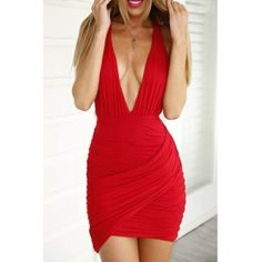 Cheap Sexy V Neck Tank Sleeveless Backless Crossed Ruffles Design Red Blending Sheath Mini Dress
