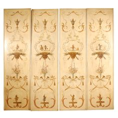 Four Hand Painted Screens in Florentine Style