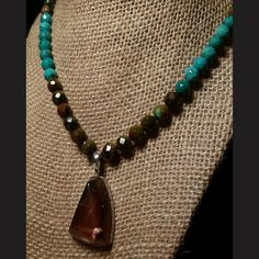 Oregon Sunstone Schiller Pendant with Turquoise Beaded Necklace - One Piece