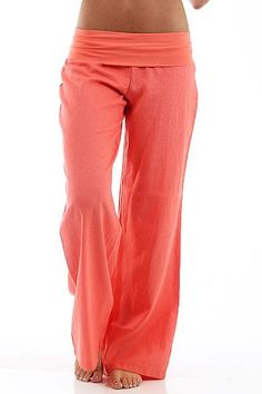 Plus Size Coral Fold Over Linen Pants – LaV's Boutique