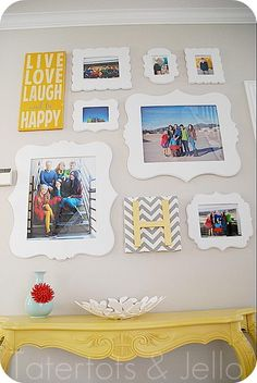 Picture Gallery Wall made with Cut It Out Frames http://www.cutitoutalready.com/  By http://tatertotsandjello.com/2013/04/pegboard-organizational-wall-and-200-to-cut-it-out-frames-giveaway.html