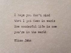 Elton John Your Song lyrics hand typed on antique typewriter