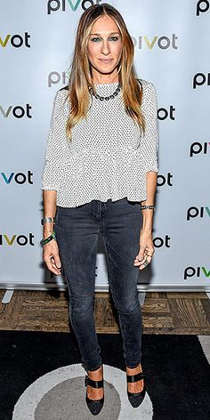 Last Night's Look: Love It or Leave It? | SARAH JESSICA PARKER | in a flared top, jeans and a few statement bracelets for a screening of Gardeners Of Eden (produced by pal Kristin Davis) in N.Y.C.