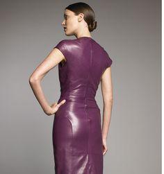 leather dress in dark magenta
