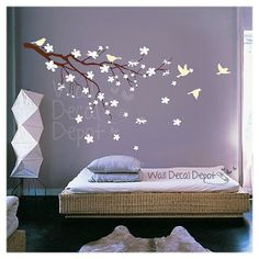 Baby Nursery Wall Decals Children Wall Decals Wall Sticker Tree Decal - Blossom Branch with Birds - 20 Bird Wall Decals, Tree Decals, Nursery Wall Decals, Wall Sticker, Wall Art, Deco Zen, Flower Branch, Flower Tree, Teenage Room