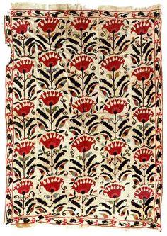 Suzani Embroidery: Samarkand Suzani Circa 1900 Christie's Lot 16 Uzbekistan  2.41 x 1.50m (7ft 11in x 4ft 11in)