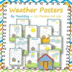 Weather Posters...12 x A4 posters with weather words. Suitable preschool to Year 2.