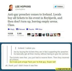 "Iceland shows how to properly ""support"" an anti-gay presenter."