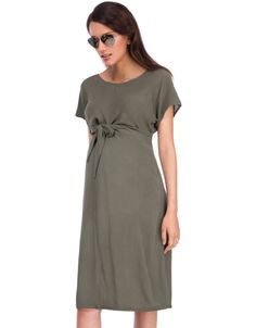 Lightweight crepe viscose   Empire ties   Relaxed fit   Short sleeves   Above the knee     Effortless and ultra-lightweight, our Khaki Woven Crepe Maternity Dress is a chic option for easy summer style. Made in textured crepe viscose and cut for a relaxed fit, this dress drapes beautifully over your curves, while chic ties secure above the bump to define your empire waist. Flattering through every stage of pregnancy, slip this dress on with a pair of metallic sandals and a long pendant…