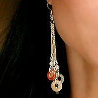 Jade and rainbow moonstone drop earrings, 'Between Nations' - Jade and Rainbow Moonstone Waterfall Earrings