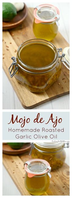 Liquid Gold aka Mojo de Ajo from CookingInStiletto. is a homemade roasted garlic oil flavored with hints of lime and spice and couldn't be easier to make. For recipes that need a bit of a garlic punch this Mojo de Ajo will be your culinary secret. Easy Cooking, Cooking Recipes, Sauces, Flavored Oils, Infused Oils, Garlic Oil, Homemade Spices, Liqueur, Sauce Recipes